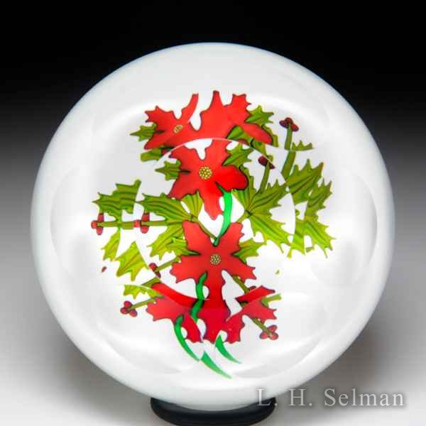 Perthshire Paperweights 1989 'Christmas Bouquet' poinsettia and holly faceted glass paperweight. by  Perthshire Paperweights