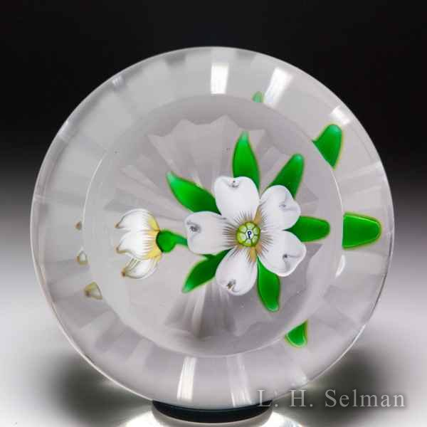 Perthshire Paperweights 1975 'Christmas Flower' white rose faceted glass paperweight. by  Perthshire Paperweights