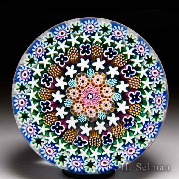 Damon MacNaught 2018 close concentric millefiori stave basket glass paperweight. by Damon MacNaught