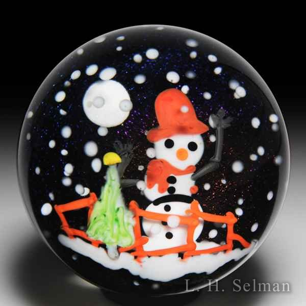 Mayauel Ward 2018 snowman compound glass paperweight. by Mayauel Ward
