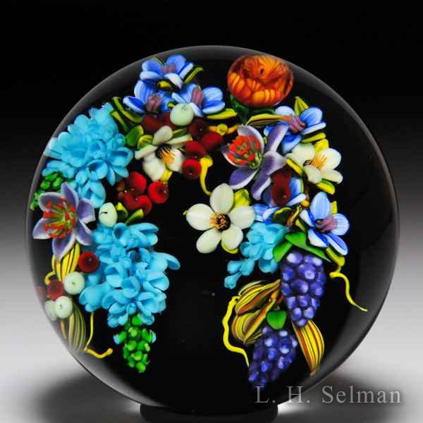 Mayauel Ward 2016 arching bouquet pedestal glass paperweight. by Mayauel Ward