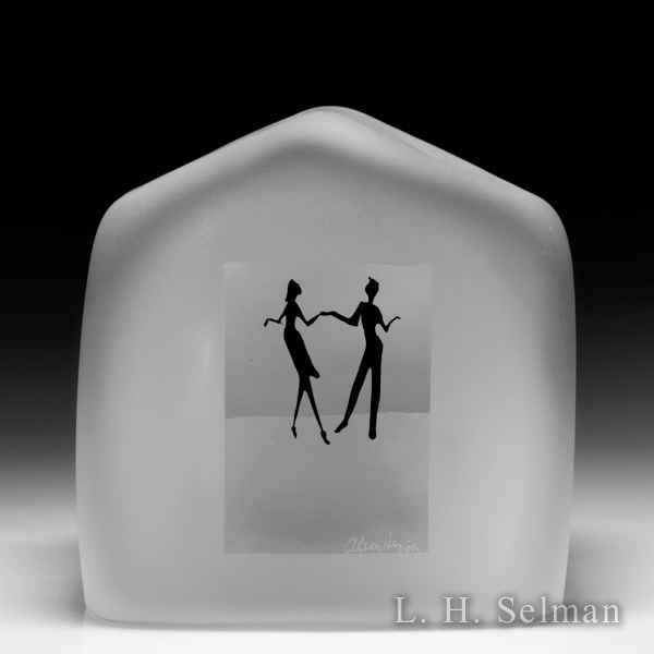 Alison Ruzsa dancing couple silhouette frosted glass house-shaped glass paperweight. by Alison Ruzsa