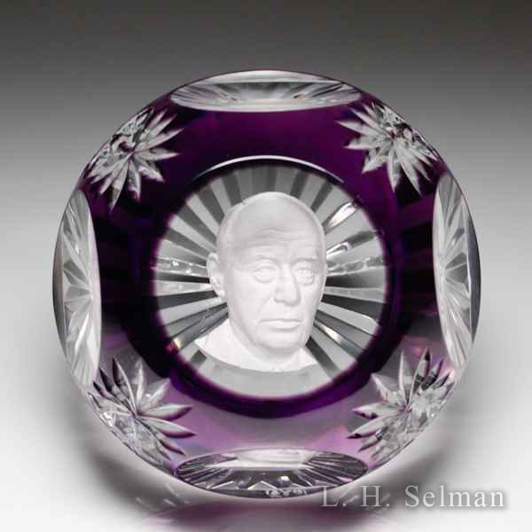Baccarat 1969 Adlai Stevenson sulphide purple overlay faceted paperweight. by Baccarat Moderns