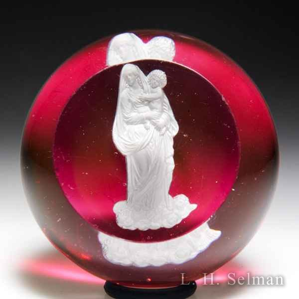 Antique Baccarat madonna and Christ sulphide faceted paperweight. by  Baccarat Antique