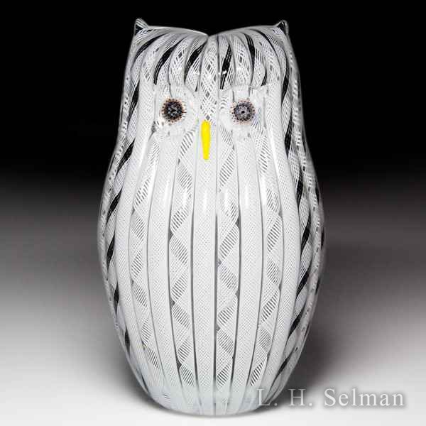 Mike Hunter 2013 Zanfirico white owl sculpture. by Twists Glass Studio