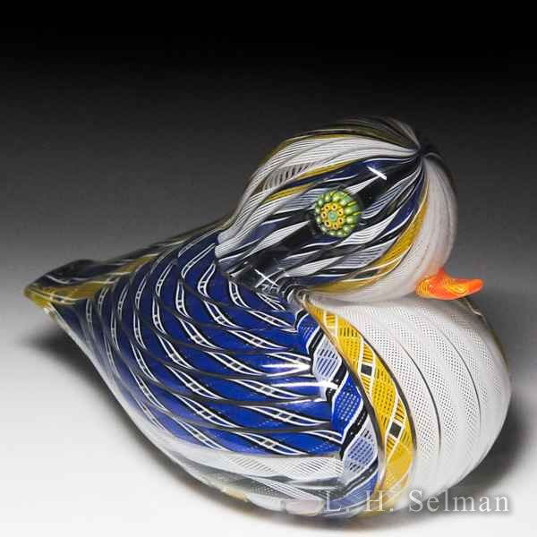 Mike Hunter 2012 Zanfirico butterscotch, blue and white duck sculpture. by Twists Glass Studio