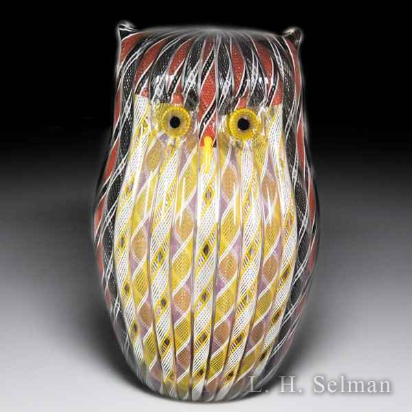 Mike Hunter 2013 Zanfirico brown owl sculpture. by Twists Glass Studio