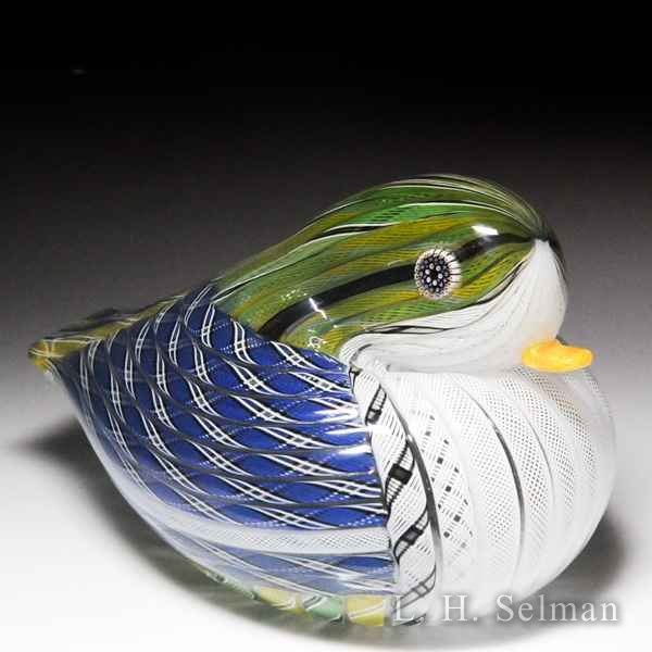 Mike Hunter 2016 Zanfirico blue, green and white duck sculpture. by Twists Glass Studio