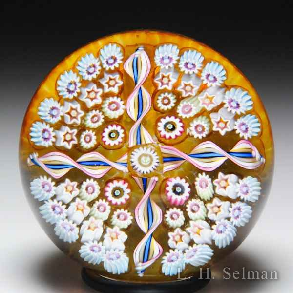 John Deacons (2018) paneled millefiori and twists glass paperweight. by John Deacons