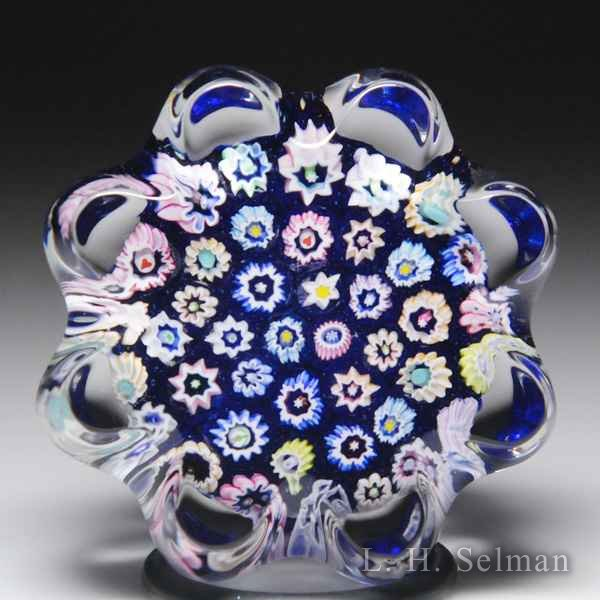 John Deacons (2018) close packed millefiori daisy-pressed miniature glass paperweight. by John Deacons