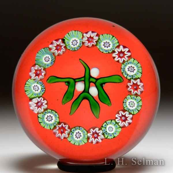 Perthshire Paperweights 1972 'Christmas Mistletoe' paperweight. by Perthshire Paperweights
