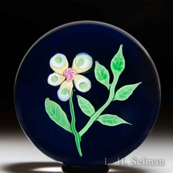 Baccarat 1970 yellow flower and leaf glass paperweight. by Modern Baccarat