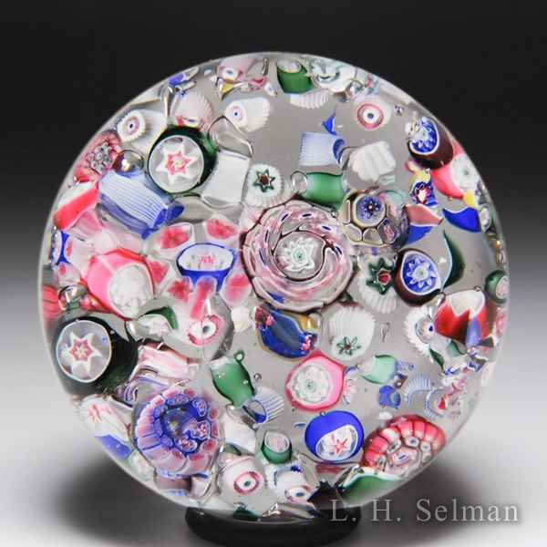Antique New England Glass Company end-of-day scrambled millefiori glass paperweight. by  American