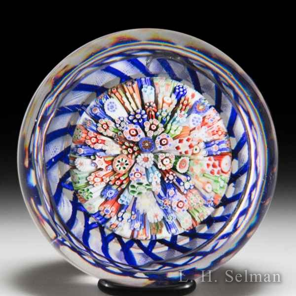 Antique Baccarat close packed millefiori mushroom glass paperweight. by  Baccarat Antique