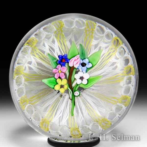 Paul Ysart six-flower bouquet in latticinio stave basket paperweight. by Paul Ysart