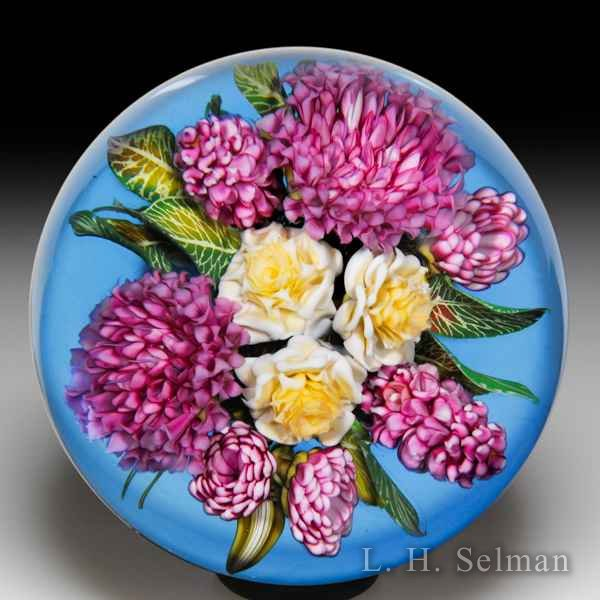 David Graeber 2018 rose, lilac and bachelor's button bouquet paperweight. by David Graeber