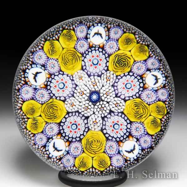 Mike Hunter 2018 patterned millefiori and moth silhouettes glass paperweight. by Twists Glass Studio