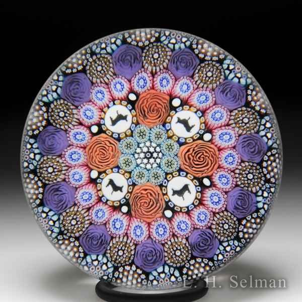 Mike Hunter 2018 close concentric millefiori and corgi silhouettes paperweight. by Twists Glass Studio