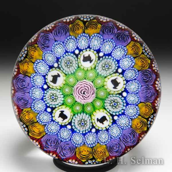 Mike Hunter 2018 close concentric millefiori and sheep silhouettes glass paperweight. by Twists Glass Studio