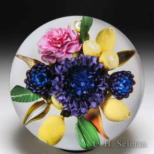 David Graeber 2018 purple hydrangea, asian rose and lemon paperweight. by David Graeber