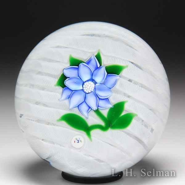 'J' Glass 1979 blue double-tiered clematis miniature glass paperweight. by J Glass