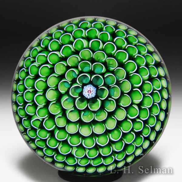 Saint Louis 1988 'Ruche verte' green honeycomb glass paperweight. by  Saint Louis