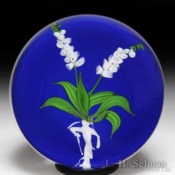 Paul Stankard 1979 'Foxglove' duo of white flower spikes and root person glass paperweight, from the Medieval Herbal Series. by Paul Stankard*