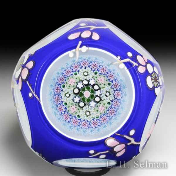 Damon MacNaught 2018 close concentric millefiori double overlay and vitreous enamel faceted glass paperweight. by Damon MacNaught