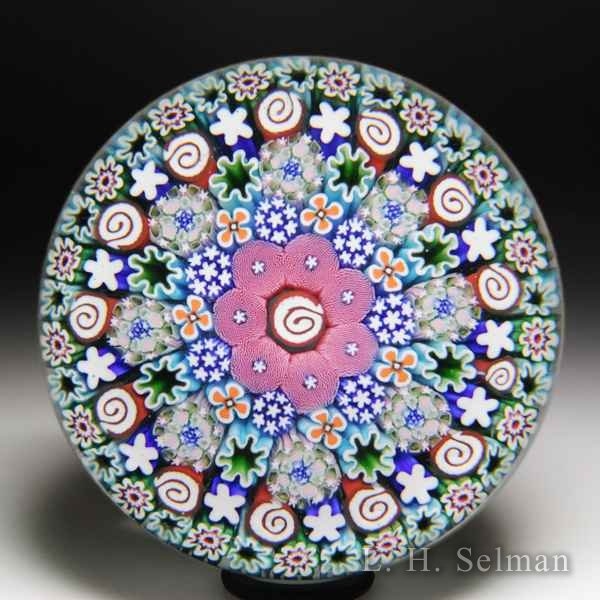 Damon MacNaught 2018 close concentric millefiori with whorls and moss glass paperweight. by Damon MacNaught