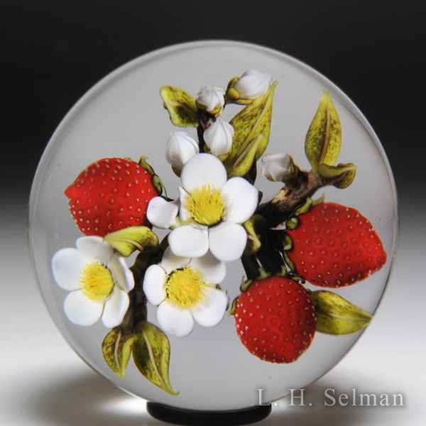 David Graeber 2018 strawberry trio and white blossoms glass paperweight by David Graeber