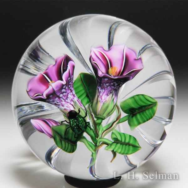 Ken Rosenfeld 2018 purple morning glories and aventurine beetle glass paperweight. by Ken Rosenfeld