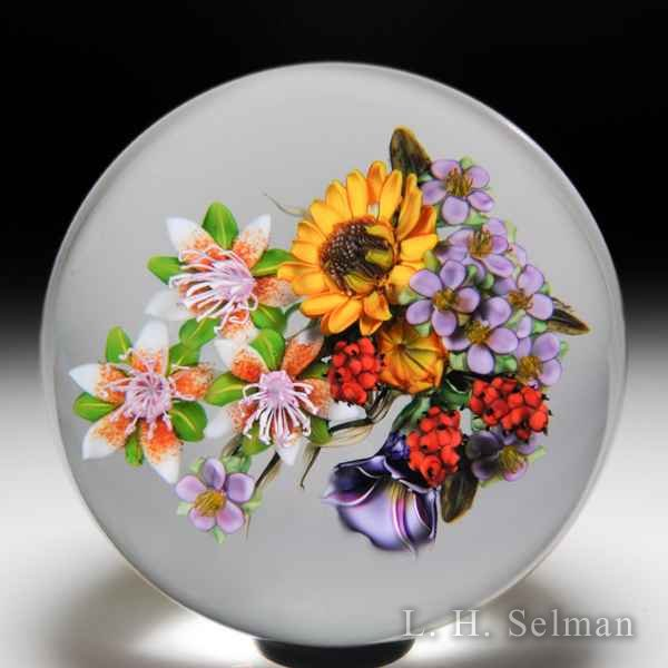 Ken Rosenfeld 2018 clematis, sunflower, morning glory and red raspberry bouquet glass paperweight. by Ken Rosenfeld