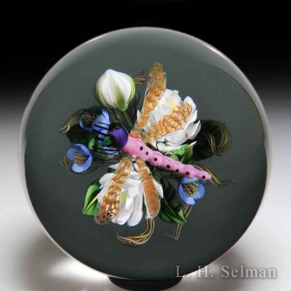 Ken Rosenfeld 2018 dragonfly over white and blue bouquet glass paperweight. by Ken Rosenfeld