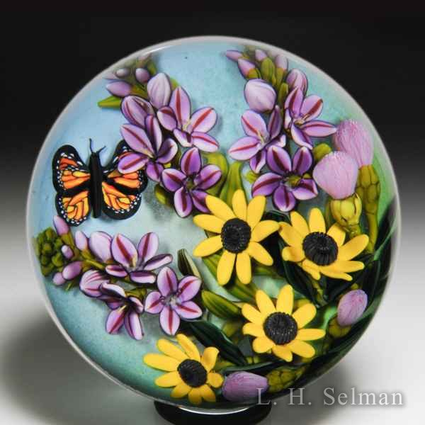 Cathy Richardson 2018 'Late Summer Floral' sunflowers, purple sprays and monarch glass paperweight. by Cathy Richardson*