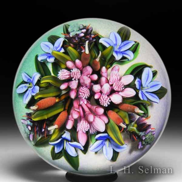 Cathy Richardson 2018 'Prairie Wildflowers Bouquet' pink clusters, cattails and blue flowers glass paperweight. by Cathy Richardson*