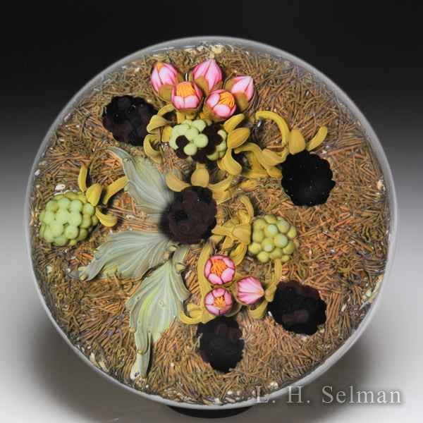 Gordon Smith 2010 blackberries on straw paperweight. by Gordon Smith