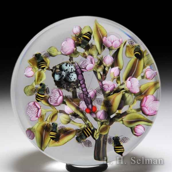 Clinton Smith 2018 bees and dragonfly in a pink flower branch glass paperweight. by Clinton Smith