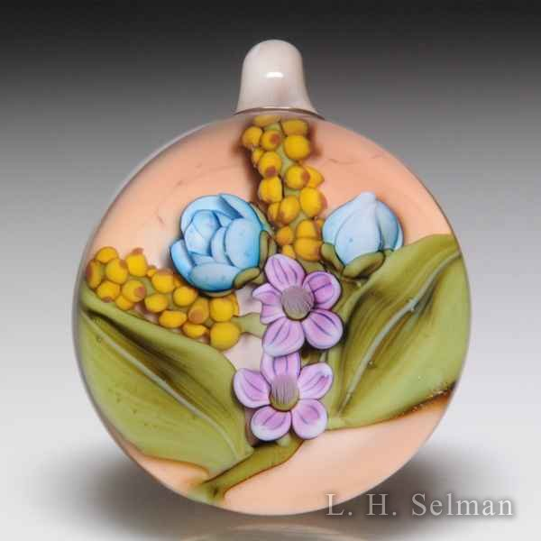Clinton Smith (2018) yellow racemes, blue roses and purple wildflowers pendant. by Clinton Smith