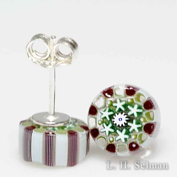 Damon MacNaught (2018) red, green and white millefiori earrings. by Damon MacNaught