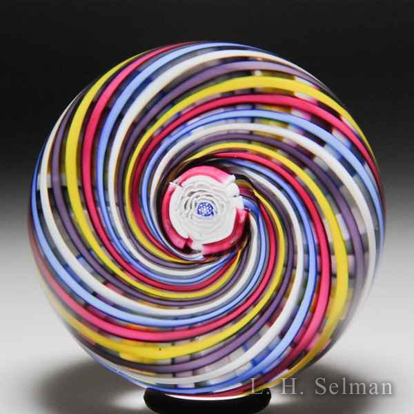 John Deacons 2018 Clichy-type rose and swirl glass paperweight. by John Deacons