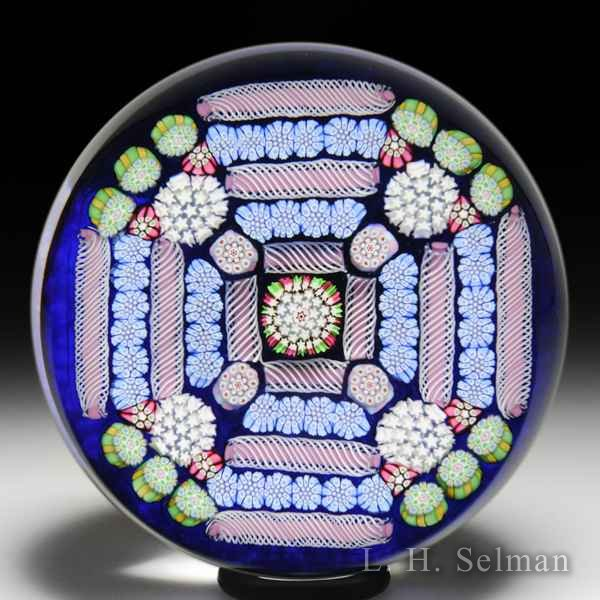 John Deacons 2018 'Fortress' square-patterned millefiori glass paperweight. by John Deacons