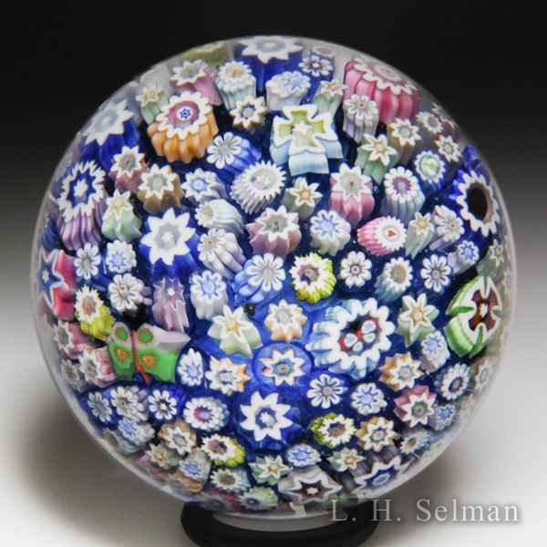 John Deacons (2018) close packed millefiori paperweight. by John Deacons
