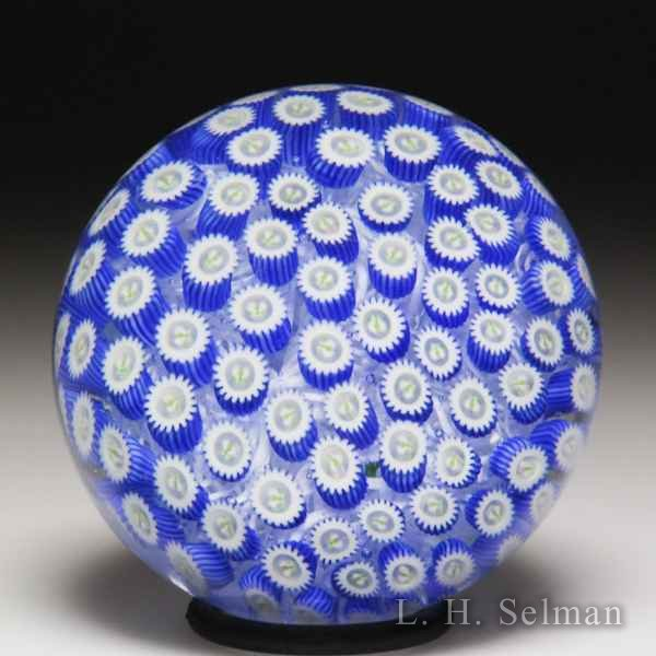 John Deacons 2018 blue thistle canes miniature glass paperweight. by John Deacons