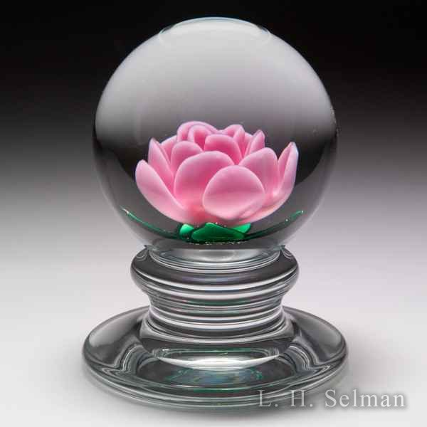 Charles Kaziun Junior light pink crimp rose pedestal paperweight. by Charles Kaziun Junior