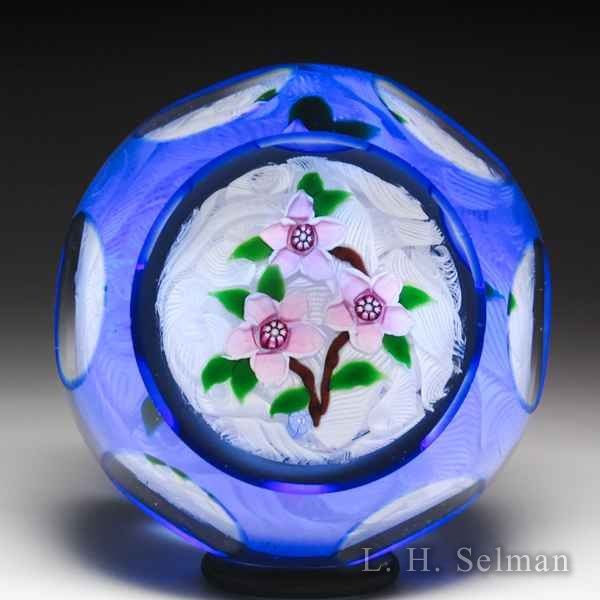 'J' Glass pink clematis flowers overlay faceted glass paperweight. by J Glass