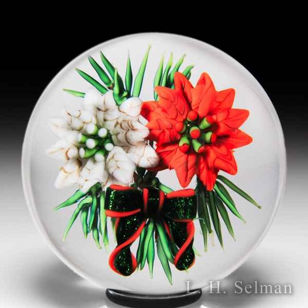 Ken Rosenfeld 2016 poinsettia and bow miniature paperweight. by Ken Rosenfeld