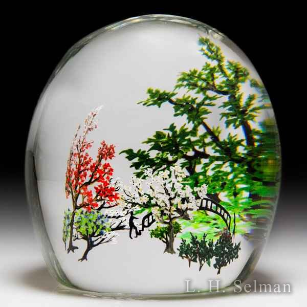Alison Ruzsa 2017 couple and bridge compound glass paperweight. by Alison Ruzsa