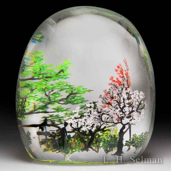 Alison Ruzsa 2017 couple and spring trees compound glass paperweight. by Alison Ruzsa