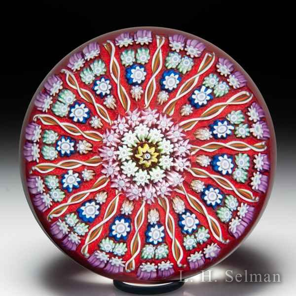 Perthshire Paperweights patterned millefiori and radial twists glass paperweight. by  Perthshire Paperweights