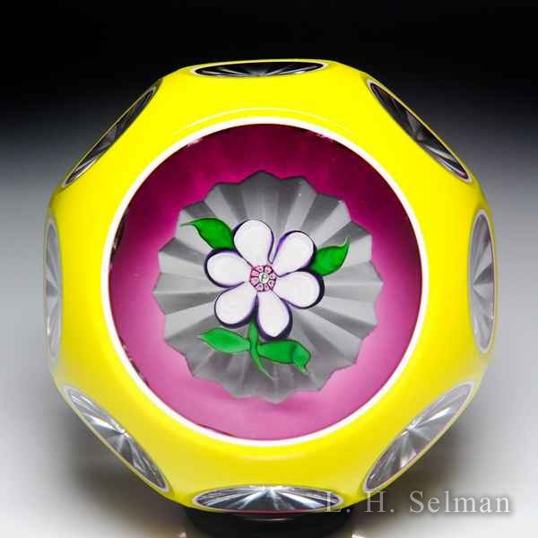 Perthshire Paperweights (1977) white anemone flower overlay faceted glass paperweight. by  Perthshire Paperweights